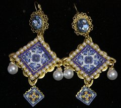 SOLD! 2162 Sicilian Tile Print Pearl Blue Crystal Studs Earrings