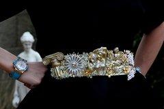 SOLD! Baroque Roman Ruins Statue Vintage Style Silver Gold Unique Corset Waist Belt Size L, XL