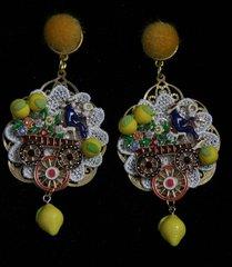 1298 Designer Inspired Enamel Cart Pom Pom Earrings Studs