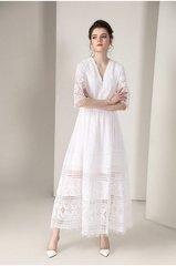 2355 Crochet Stunning White Summer Maxi Dress