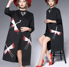 1607 Designer Inspired Stork Applique Woolen Blend Coat