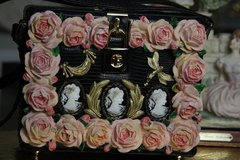 546  Designer Inspired Victorian Embellished Cameo Polymer Resin Hand Painted Crossbody Cherub Butterfly Unique Trunk