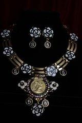 1773 Madam Coco Camellia Gold MedallionCharms Set