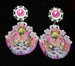2470 Marie Antoinette Pink Mask Hand Painted Cameo Studs