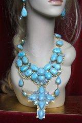 2243 Set Of Genuine Caribian Larimar Huge cross Crystal Necklace+ Earrings