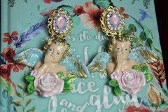 2467 Total Baroque Vivid Hand Painted Cherubs Pink Crystal Studs