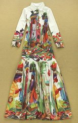 126 Colorful Shirt Style Shapless Summer Maxi Dress