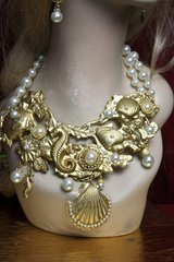 2358 Baroque Nautical Gold Rone Huge Metal Pearl Set