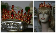 749  SET Baroque Red Crystal Hair Piece Crown Tiara Plus Earrings