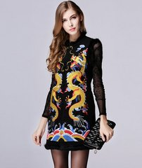 342 Emroidery Asian Style Dragons Spring Woolen Vest