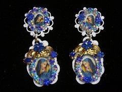 2213 Virgin Mary Blue White Elegant Earrings Studs