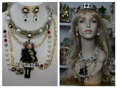 SOLD!1516 Madam Coco Doll Fancy Brooches Pearl Necklace Set