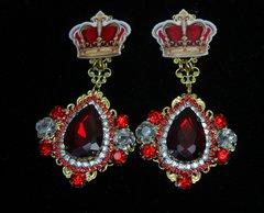 1766 Total BAroque Crown Vine Red Swarovski Crystal Studs Earrings