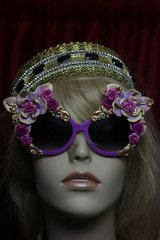 1738 Baroque Purple Hand Painted Flower Embellished Sunglasses