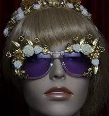 SOLD! 1958 Purple Clear White Rose Embellished Sunglasses