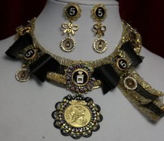 SOLD! 1620 Madam Coco Inspired Gold Medalion Black Crystal SET
