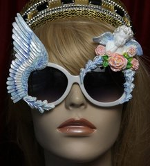 1754 Baroque Winged Blue Pearl Cherub Hand Painted Sunglasses