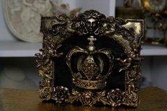 SOLD! 354 Bronze Baroque MEDUSA Unusual Unique Hand Painted Sigar Box Blue Handbag Trunk