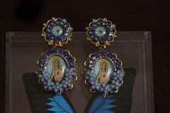 Virgin Mary Cameo Light Blue Tassel Rhinestone Elegant Statement Earrings Studs