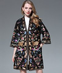 1341 Heavy  Bird Gold Traditional Embroidery Wool Blend Coat