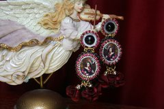 2542 Victorian Lady Tassel Cameo Stunning Earrings