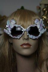 553  Praying Cherubs Hand Painted Pearlish Purple Fancy Sunglasses Eye Wear UV400
