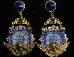 SOLD!2167 Blue Mosaic Cherub Blue Crystal Studs Earrings