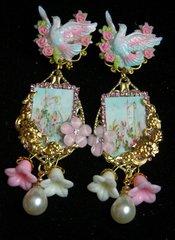 2345 Hand Painted Dove Stunning Aqua Studs Earrings