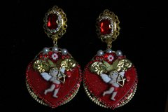 2042 Baroque Heart Cupid Adorable Crystal Earrings Studs