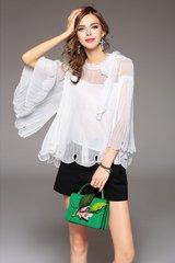 2196 2 Colors Designer Inspired Chiffon Elegant White Top Blouse