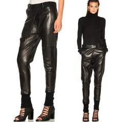 1524 PU Leather One -Size Buggy  Style Black Pants