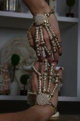 1980  Pearl Skeleton Unusual Fancy Cuff Bracelet