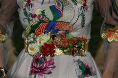 SOLD!  4452 BELT Art Nouveau Vivid Lily Enamel Fish Coral Yellow Waist Unique Belt