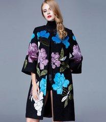 1029 Woolen Silk Patched Floral Amazing Plus Sizes Winter Coat