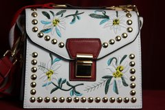 SOLD!1671 Designer Inspired Rivets Flower Embroidery Summer Crossbody Purse