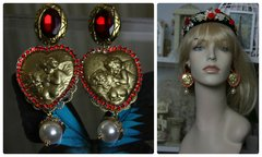 1086 Baroque Venus Heart Red Crystal Massive Earrings