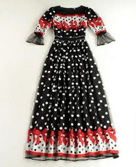 1401 Fancy Polka Dot Embroidery Red Bow Mid Cuff  Dress