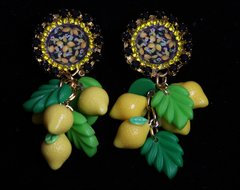 1941 Lemon Cameo Baroque Leaf Lemon Earrings