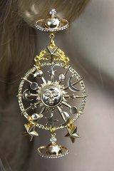 2269 Gold Tone Massive Star Moon Satellite Dangle Earrings