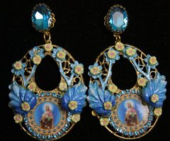 2002 Aqua Enamel Hand Painted Leaf Virgin Mary Earrings Studs