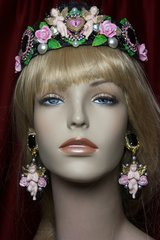 2301 Set Of Baroque Hand Painted Cherubs Roses Heart Lace Glitter Headband Tiara+ Earrings