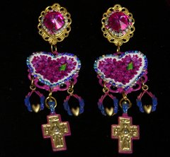 2216 Baroque Fuchsia Cross Heart Earrings