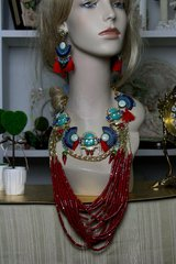 669  Maya Tribal SET Coral Beaded Turquoise Maya Statement Necklace+ Earrings