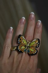 1044  Victorian Enamel Crystal Butterfly Huge Cocktail Adjustable Ring