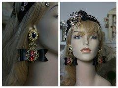SOLD! 1559 Baroque Designer Inspired PU Bow Crystal Ladybug Studs earrings
