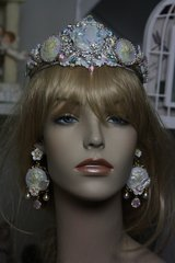 SOLD! 629  Victorian Unusual Unique Pearlish Purple Rhinestone Baroque Curves Headband Hairwear