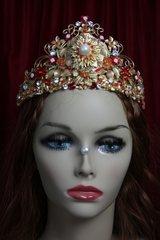 2025 Baroque Red Flower Gold Leaf Full  Crown