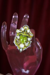 2272 Genuine Jasper Carved Face Crystal Cocktail Ring