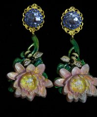 1948 Hand Painted Vivid Lily Bee Blue Crystal Earrings