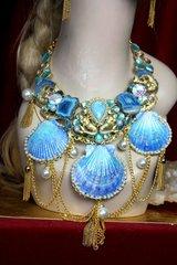 2304 Stunning Genuine Larimar Agate Mermaids Hand Painted Shell HUGE Necklace+ Earrings